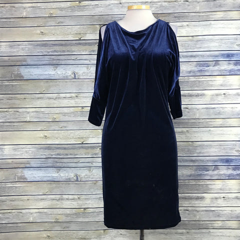 Edit Jeanne Beker Womens Dress navy blue Velvet Cold Shoulder Size Small  PP08