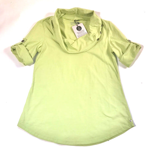 Neon Buddha Womens Top Green With Tabs Cowl Neck NWT Sz Med- AL14