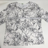 5Pcs Womens Outfit Black pants Black and white Top Flower print Size Large -AP33