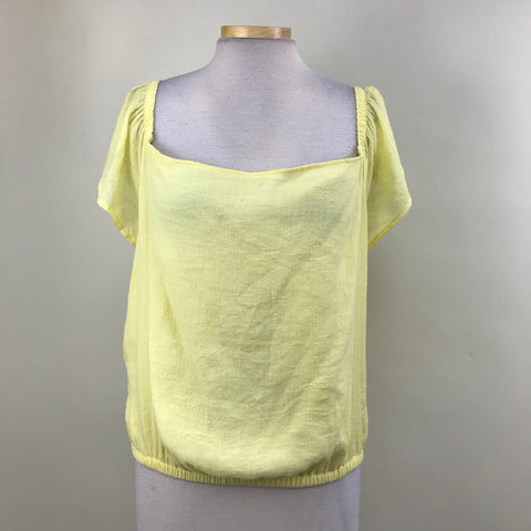 NWT Guess Womens Top Off Shoulder Lemonade Yellow Size XL- AO03