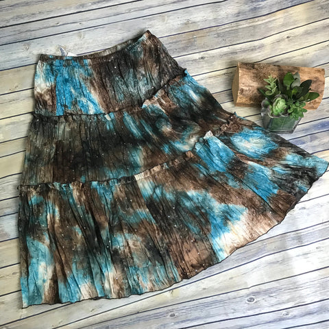 Line A Domani Womens Peasant Skirt Brown and teal Print Knee Length Size12 - AK101