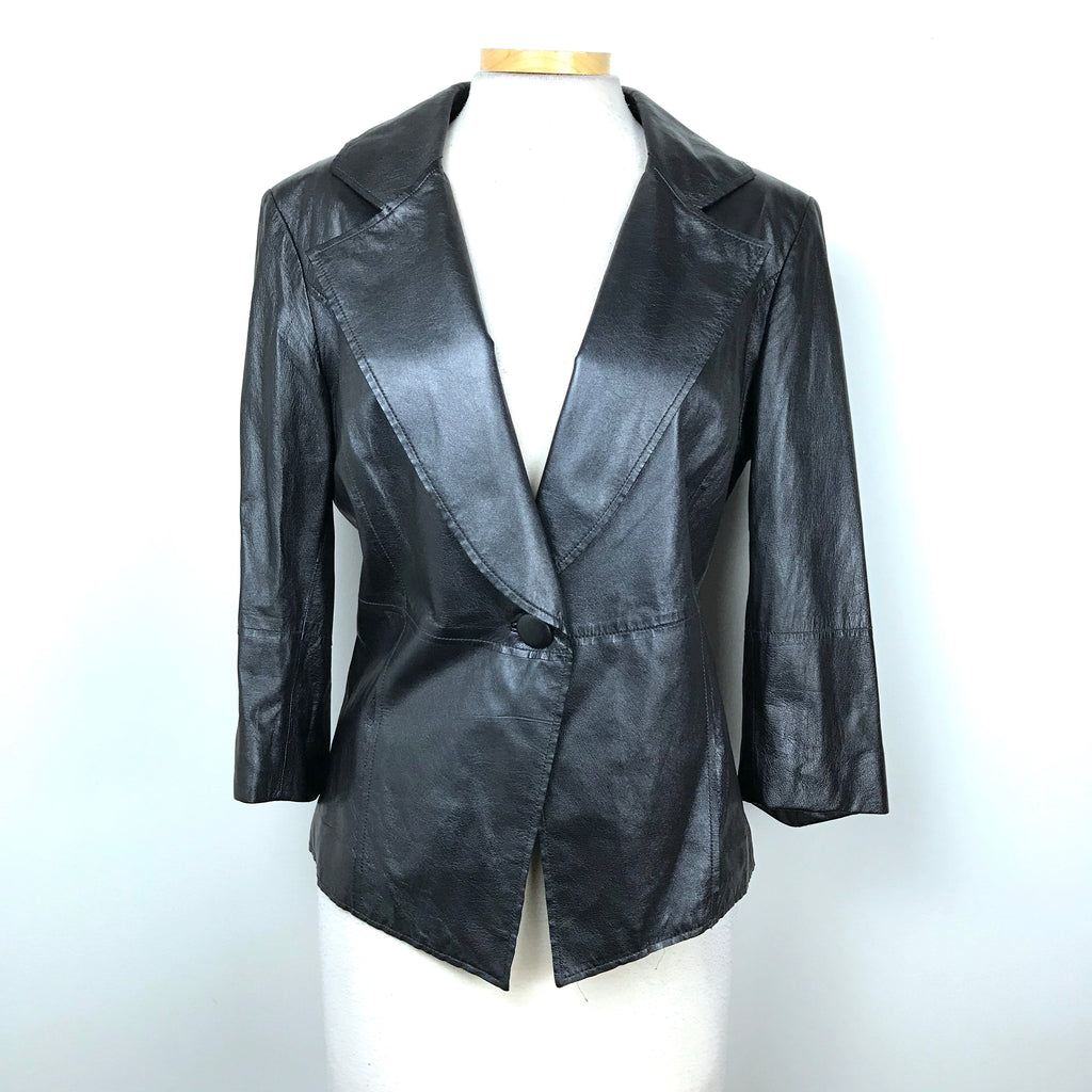 St. John Black label Authentic Womens Lambskin Leather Jacket Black Sz 14 MSRP $2000