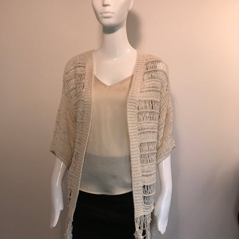 American Eagle Womens Lose Knit Crochet Cardigan Cream  Size Medium- AL35