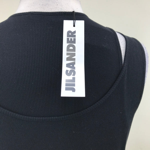 NWT Jil Sander Womens Tank Top Black Cotton MSRP $315 Size XL (fits small)- AO05