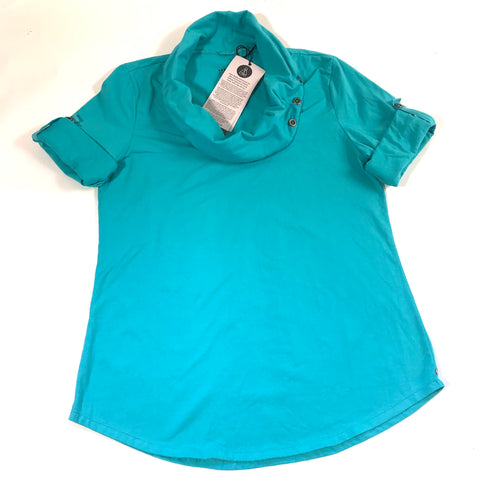 Neon Buddha Womens Top Teal With Tabs Cowl Neck NWT Sz Large- AL17