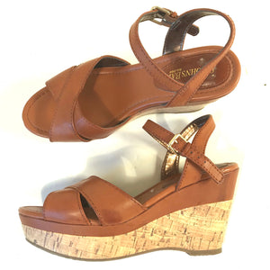 St Johns Bay Womens Wedge Sandals Brown Open Toe Size 7M- AH14