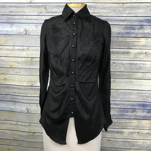 Very J Women's Long Sleeve Button Down shirt Black 100% Silk Size Small - AB05