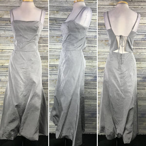 2pcs Maria Bonita Womens Formal Dress Prom Gown Grey Open Back NWT Size Medium W