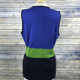 First Issue Womens Blouse Knitted Zip up Vest Blue and Green Size Sm /YY11