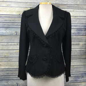 Escada Women's Blazer Size 42  (medium) With Lace Trim 100% Silk- II05