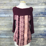 B'leeve Womens Top Blouse Maroon, Solid and animal print Size Medium Size M- MM0