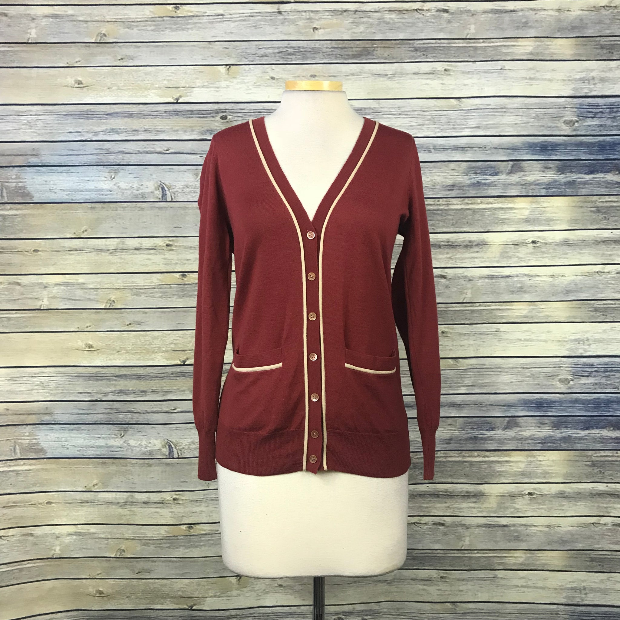 J Crew Womens Cardigan Burnt orange / red Size Small - Damaged MM10