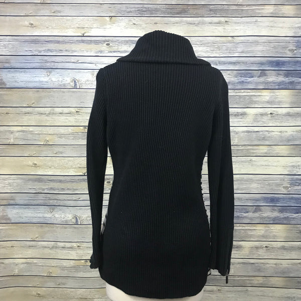 Abbie Mags Womens knit sweater zip up black and white Size Medium MM17