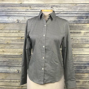 Chaps Classic No irom Womens Button Down Shirt hounds tooth pattern Small MM24