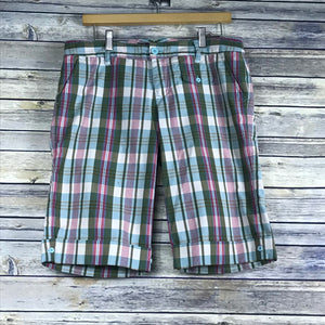 Volcom Womens Shorts Checkered multi color green and pink Size 9 NN06