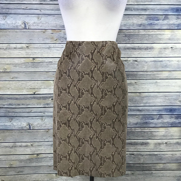"Club Monaco Womens Pencil Skirt Snake Skin Pattern Waist 32"" Large- OO01"
