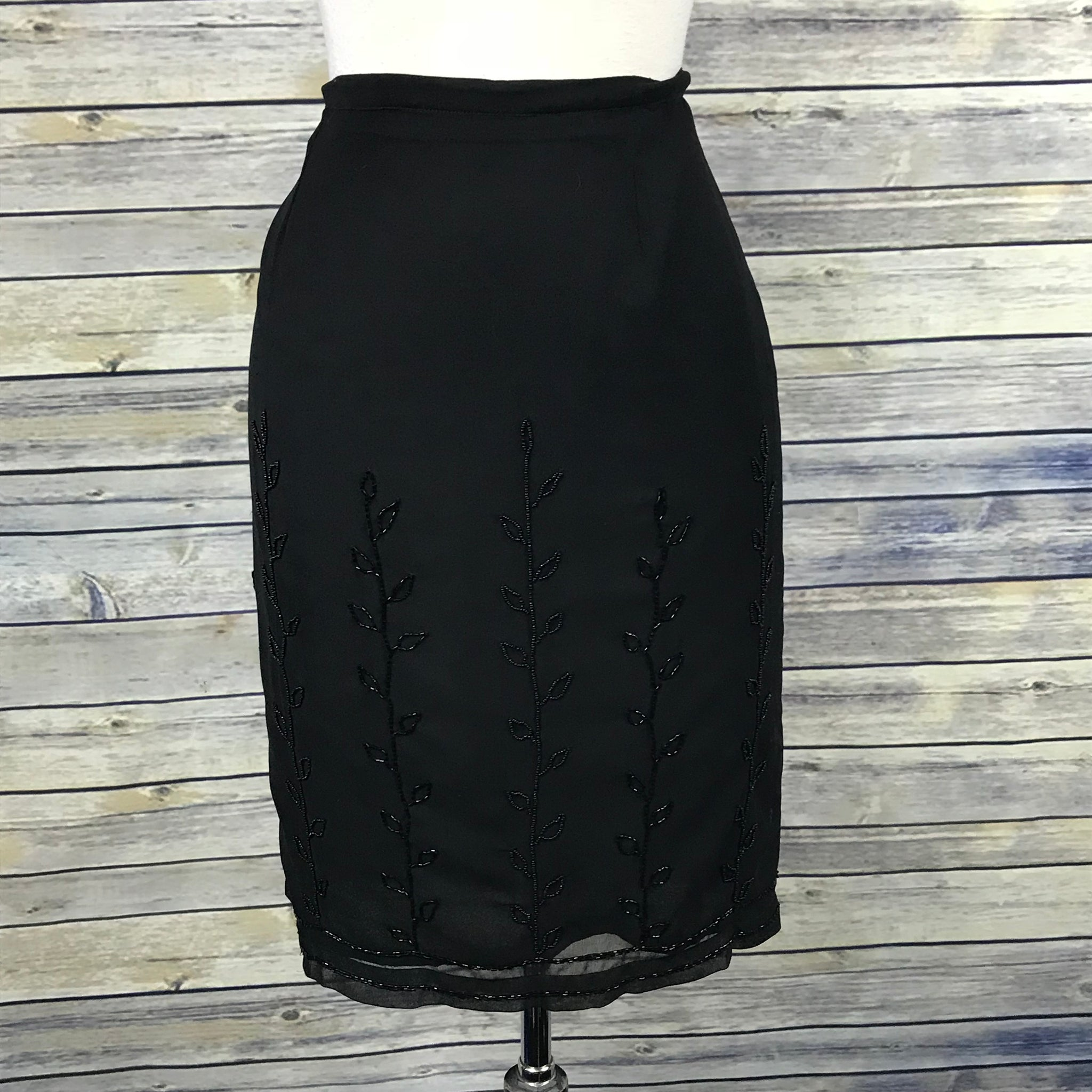 The Work Connection Womens Black pencil Skirt Size 12 - beaded - NN28