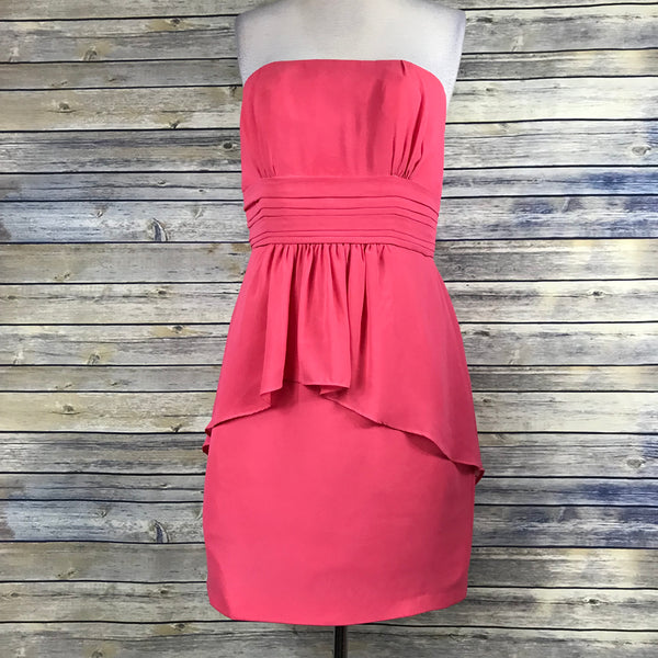 Alfred Angelo Strapless Womens Bridesmaid Dress Coral Size 14 Petunia- OO02