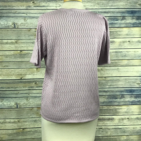 Alfred Dunner Womens Lose Knit Top Purple Short sleeve Size Large OO24