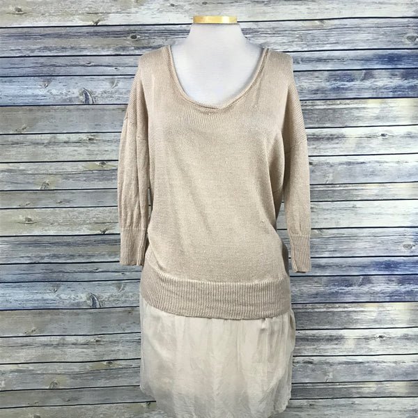 French Connection Womens Knit Tunic Sweater Beige Size Medium OO27