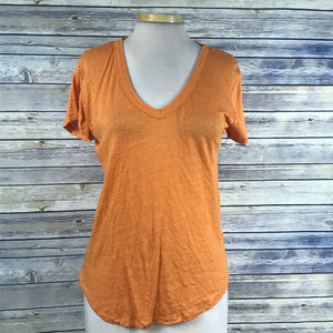 Gap Womens T-shirt V neck Short sleeve Orange 100% Linen Size XS PP24
