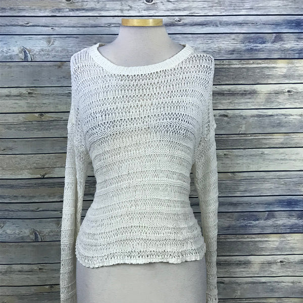 DKNY Jeans Womens Sweater Lose Knit Off White Size Small QQ15
