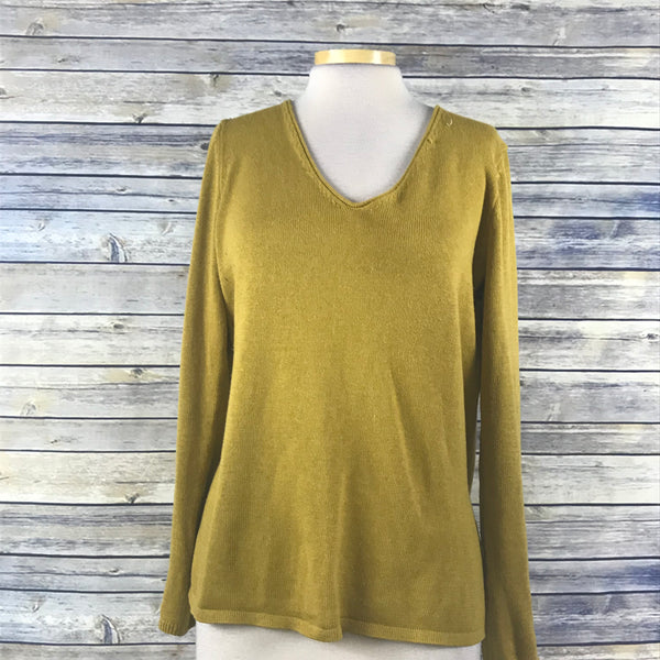 Old Navy Womens V-neck Knit sweater Mustard Yellow Size Large- RR07