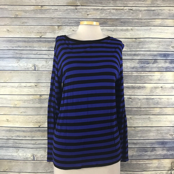 Gap Womens Long Sleeve top black and navy stripes Size Large RR10