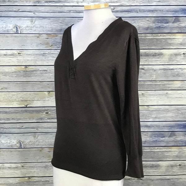 Melanie M Womens Top Chocolate Brown V-Neck Size Large SS01