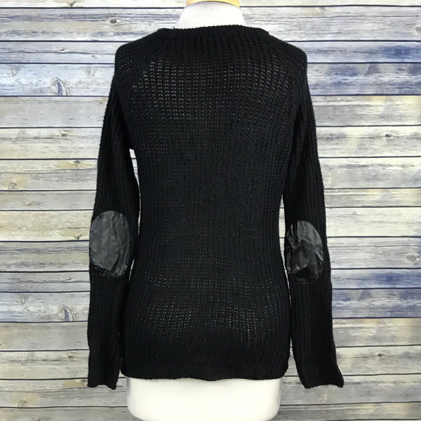 G:21 Womens Lose Knit Sweater Black Pleather Elbow Patch Size Medium SS03