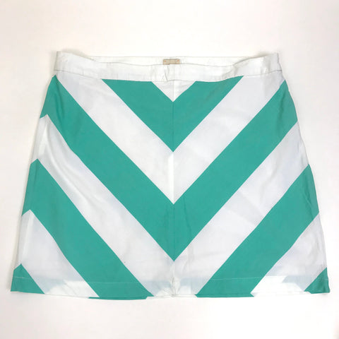 G.H. Basss & Co WomensMini Skirt Large Chevron Print teal and white Size 16 -AQ01