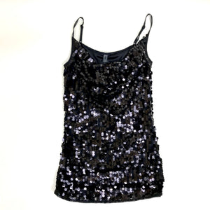 Only Womens Top/ Blouse Black Full Sequined Spaghetti Straps Size XS -AQ08