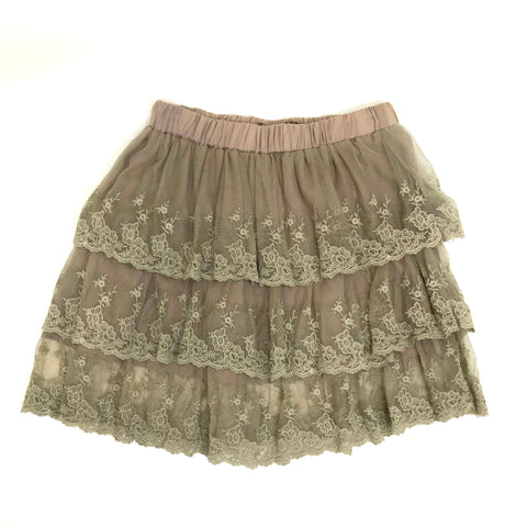 NWT YUAN Womens Mini Skirt Boho Brown Lace Layered High Waisted Size XS -AQ10