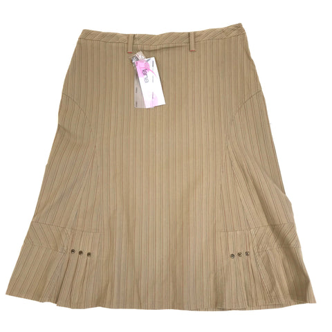 NWT Lana Sport Womens Skirt Brown A-line Stripes Size 14 MSRP $59- KB200