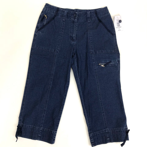 NWT Alia Womens Capri Pants Dark denim Missy Size 8 Medium MSRP $38 KB219