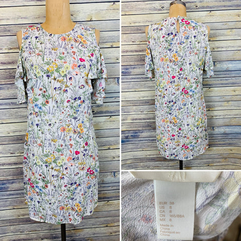 H&M Floral Dress  Size 8 Cold shoulder sleeves L503