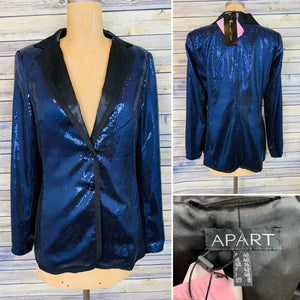 Apart Womens Sequin Blazer Blue and Black Size 8 med