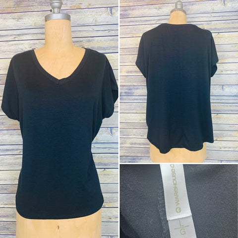 Large Black V-neck shirt