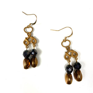 Gold Copper and black beads