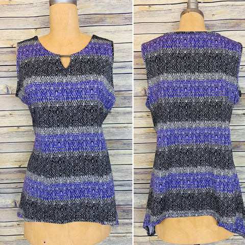 Large purple and black sleeveless top