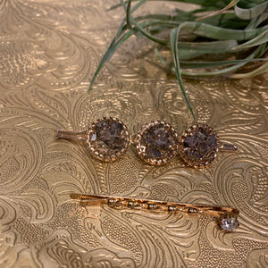 Mauve stones and dainty Diamond  - Set of 2 Hair Clips