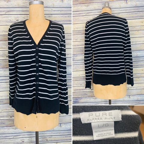 Large Pure Alfred Sung Stripped sweater