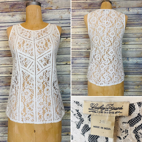 Lucky Brand XS white lace top