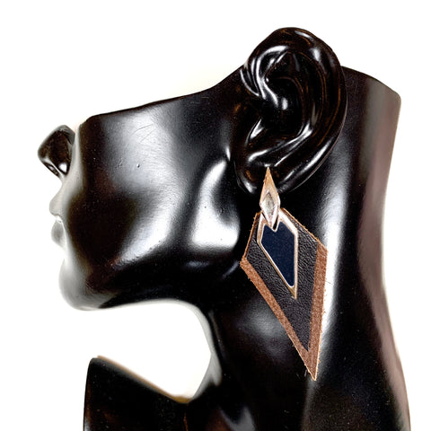 Leather Earrings Black and brown