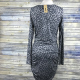 DKNY jeans NWT Womens Dress Grey animal print long sleeves t-shirt material Size