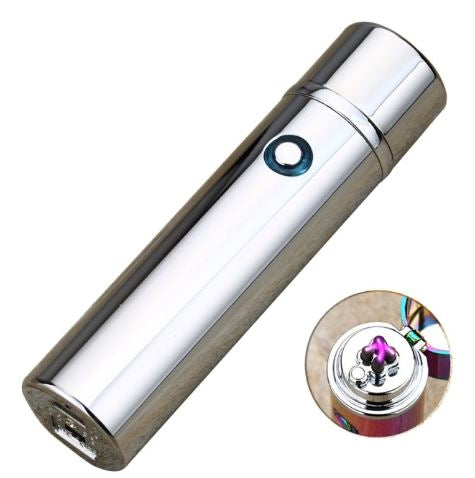 Small Cylinder Double Arc Sizzle Lighter- Pewter