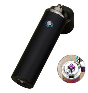 Small Cylinder Double Arc Sizzle Lighter- Black