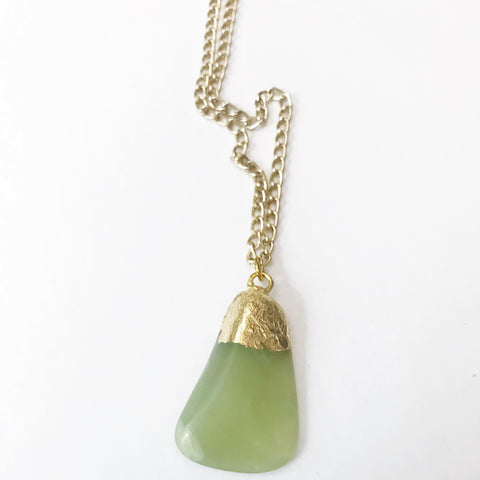 Gold Leaf Jade Pendant Necklace