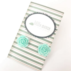 Powder Blue Rose Stud earrings