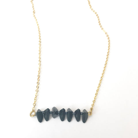 Geometric Black Bead Necklace
